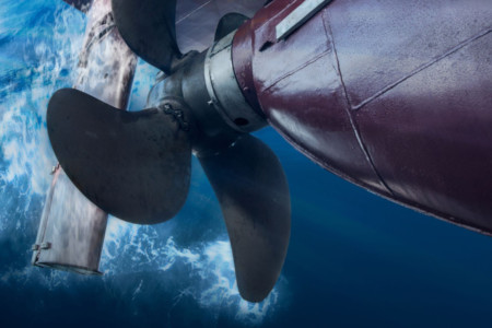 Marine industry ship propeller undersea view