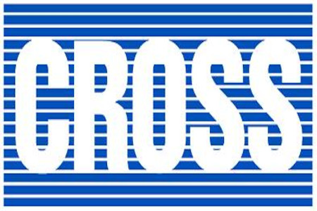 Cross manufacturing blue and white logo