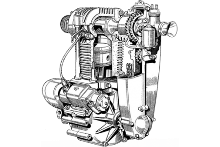 Illustration of Cross Manufacturing rotary valve engine