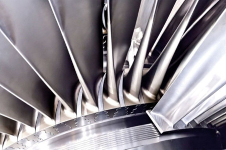 Power generation turbine blades close up