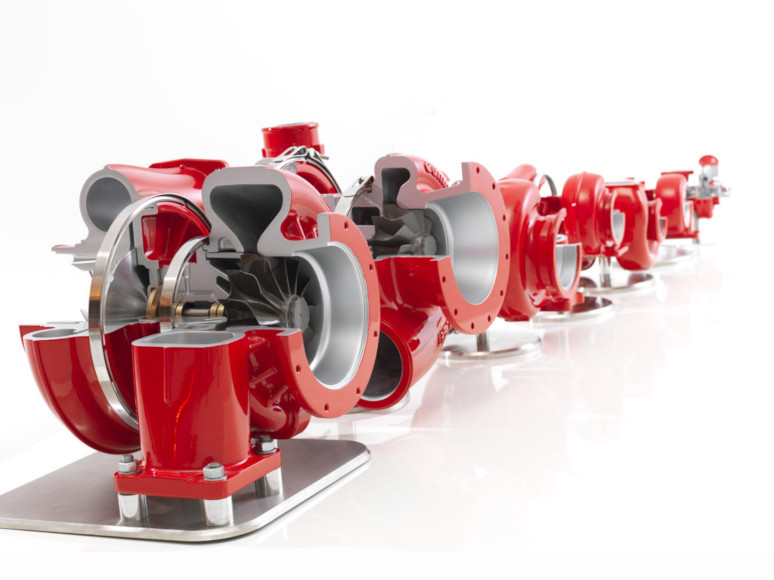 Red turbochargers with cut away showing main shaft